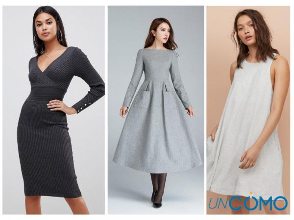 Colores de vestidos para morenas - Vestidos de color gris
