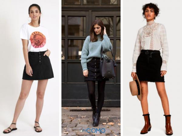 Cómo combinar una falda negra - Ideas para combinar una falda negra vaquera