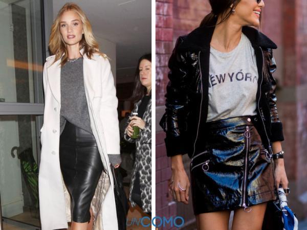 Cómo combinar una falda negra - Cómo combinar una falda negra de cuero