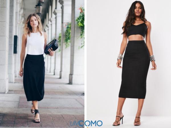 Cómo combinar una falda negra - Cómo combinar una falda negra larga