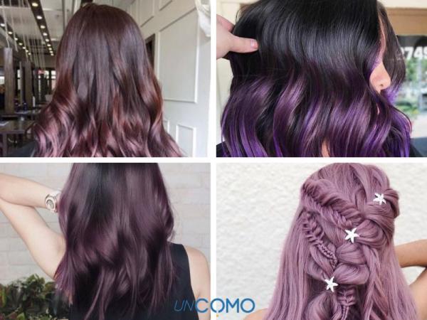 Colores de cabello para piel morena - Tinte violeta para un cambio de color de cabello