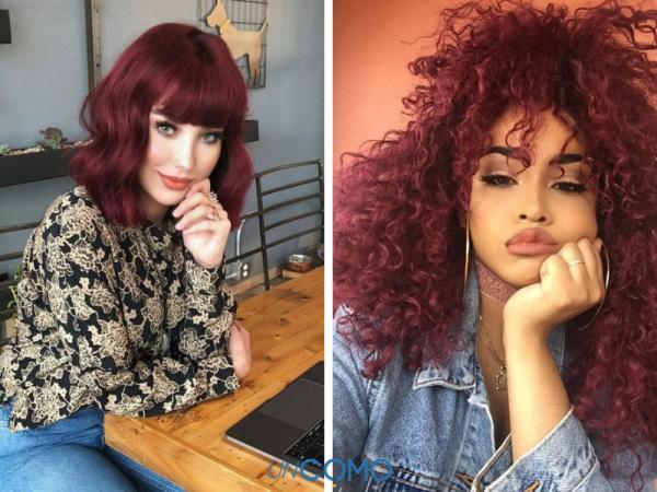 Colores de cabello para piel morena - Borgoña para piel morena