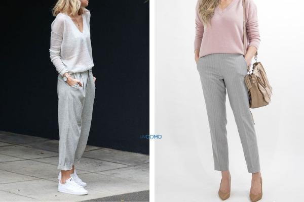Cómo combinar un pantalón gris - Cómo combinar un pantalón gris claro de mujer