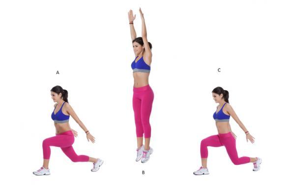 Ejercicios para piernas y glúteos en casa - Zancadas con salto