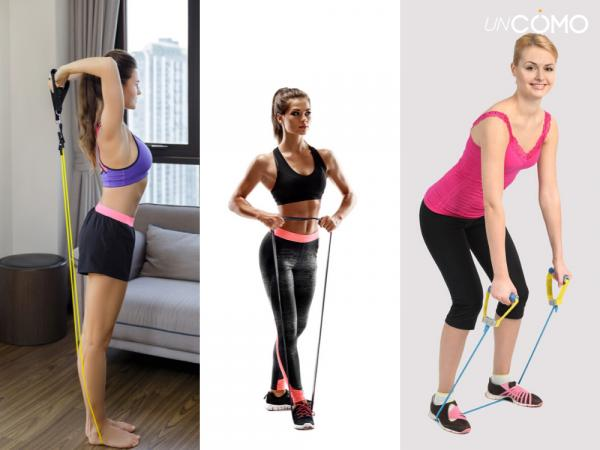 Ejercicios con bandas elásticas para hacer en casa - Ejercicio de bíceps y hombros
