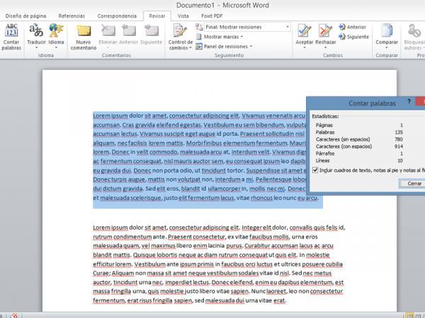 Cómo contar palabras en Word - Contar las palabras de una sección específica del texto