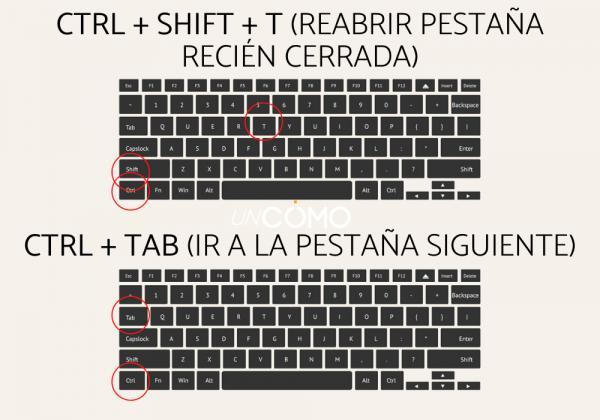Cómo cambiar de pestaña con el teclado - Ctrl + Tab (Ir a la pestaña siguiente)