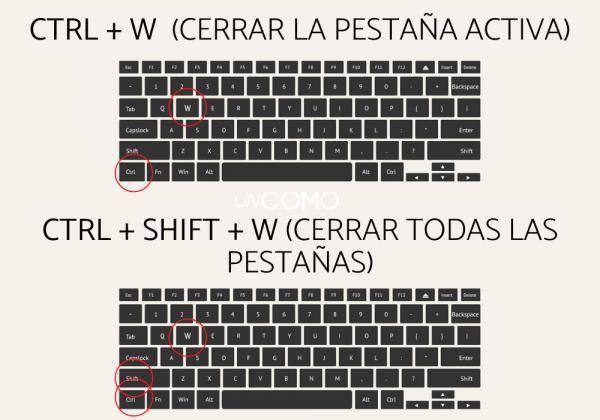 Cómo cambiar de pestaña con el teclado - Ctrl + Shift + W (Cierra todas la pestañas y cierra Chrome)