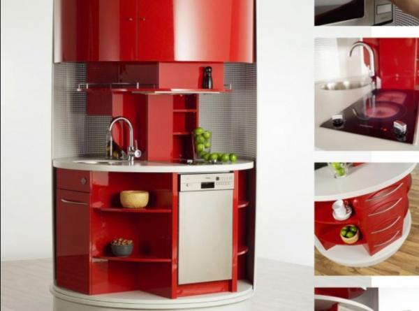 Ingeniosos muebles para ahorrar espacio - La cocina giratoria