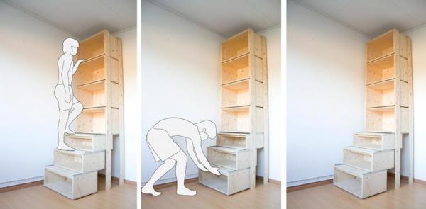 Ingeniosos muebles para ahorrar espacio - Estanterías para sacar todo el partido al espacio vertical