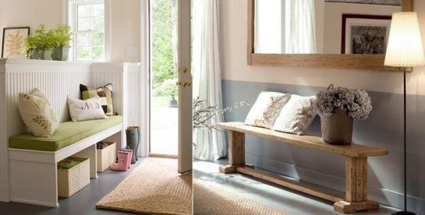 Ideas para decorar con un banco en el recibidor - Un banco es un mueble súper útil en un recibidor, ¿lo sabías?
