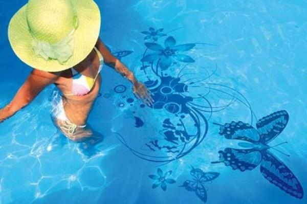 Ideas de pegatinas para la piscina - diseños para el fondo - Ideas de pegatinas decorativas para el fondo de la piscina