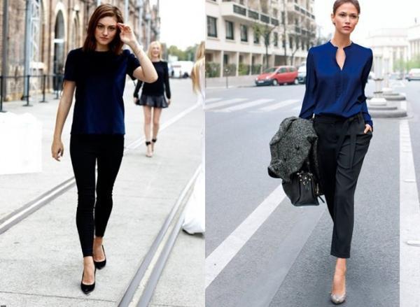 Cómo combinar una blusa azul marino - Blusa azul con negro