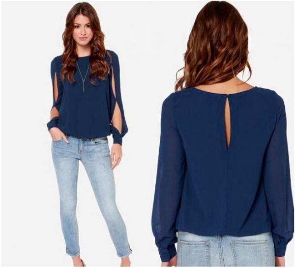 Cómo combinar una blusa azul marino - Blusa azul y jeans