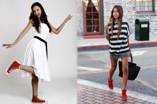 Cómo combinar unas zapatillas rojas - Vestidos, faldas y zapatillas