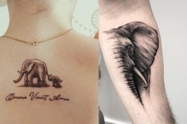 Significado de los tatuajes de elefantes - El significado más común: buena suerte